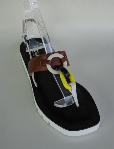 Damenschuh - Sandale marrone blu giallo bianco