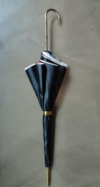 Damenschirm - nero fiore oro