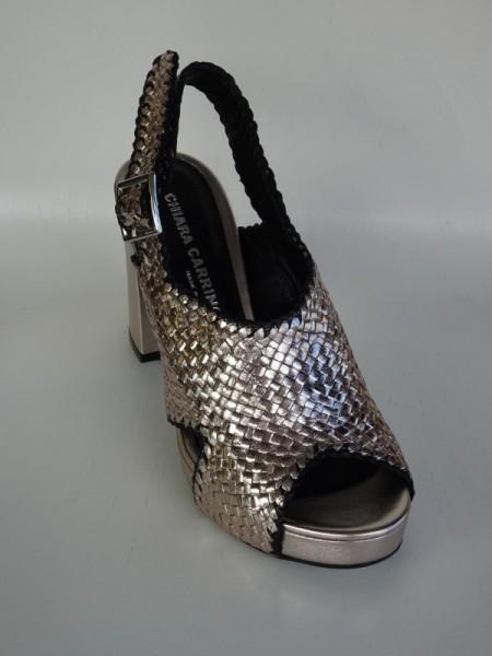 Damenschuhe - intreccia platino nero